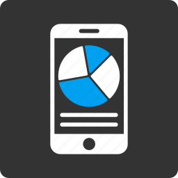 business, graph, mobile report, phone, pie chart, statistics, telephone icon