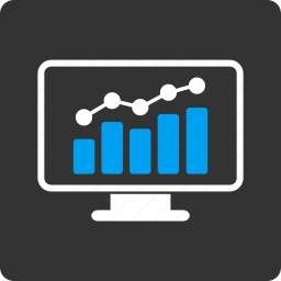 business, chart, computer, graph, monitor, report, trend icon