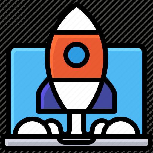 business, develop, laptop, rocket, start up icon
