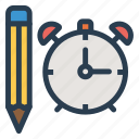 alarm, bell, design, pencil, snooze, sound, write icon