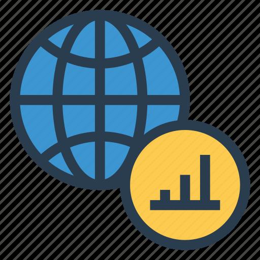 bargraph, businessman, global, graph, monitoring, piegraph, world icon