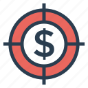 cash, currency, dollar, focus, money, shoot, target icon
