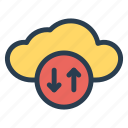 cloud, computing, connection, devices, download, upload, weather icon