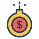 business, currency, danger, deposit, dollar, money, safety icon