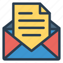business, email, envelope, letter, mail, open, openemail icon