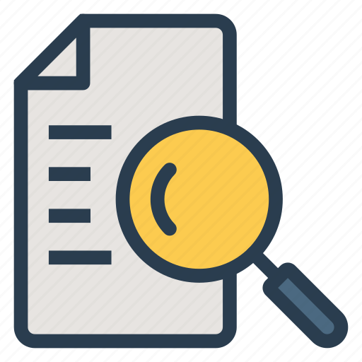 file, magnify, note, object, search, task, text icon