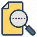 file, filesearch, find, magnify, object, search, text icon