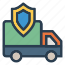 privacy, protect, protection, security, shield, van, vehicle icon