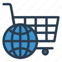 business, cart, commerce, earth, finance, global, world icon