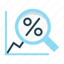 economy, graph, growth, increase, magnifier, revenue, statistics icon