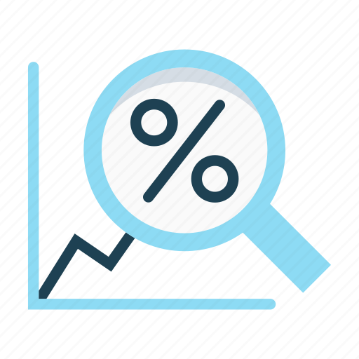 economy, graph, growth, increase, magnifier, revenue, statistics icon