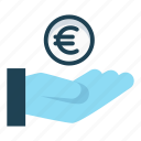 cash, donate, euro, finance, pay, payment, revenue icon