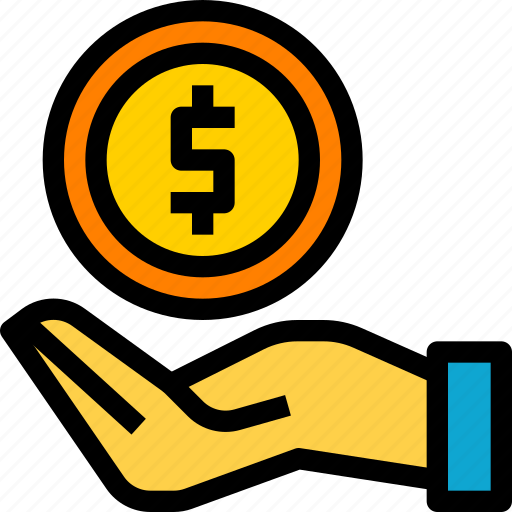 banking, business, dollar, financial, hand, money, saving icon