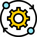 business, cog, gear, industrial, network, status, working icon