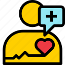 cardiology, chat, communication, healthy, heart, person, pulse icon