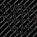 around the globe, cogwheel, digital marketing, international, worldwide icon