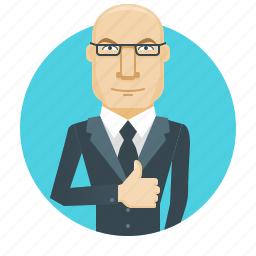 approve, boss, business, businessman, like, man, thumbs up icon