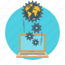 communication, gears, global, internet, laptop, network, programming icon