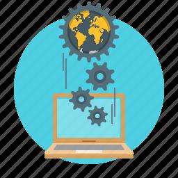 communication, gears, global, internet, laptop, network, programming icon
