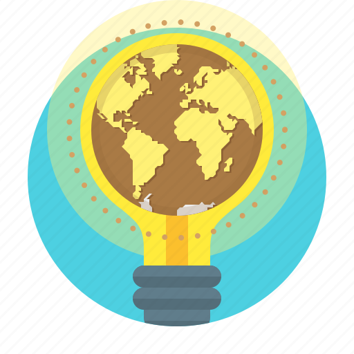 bulb, business, campaigns, creative, earth, global, idea icon