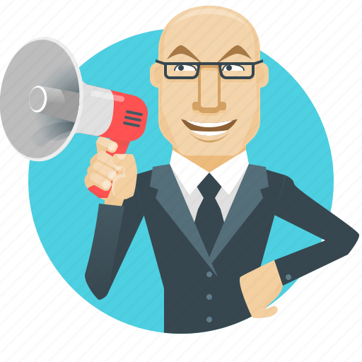 advertising, boss, business, businessman, promotion, speak, speaker icon