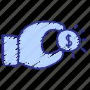 cash, credit, dollar, finance, hand, income, money icon