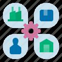 manufacture, manufacturer, manufacturering, producing, supplier, supplier management, supply chain icon