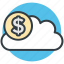 business, cloud, cloud computing, dollar, icloud icon