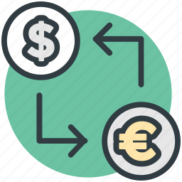 currency conversion, currency exchange, dollar, money exchange, refresh sign icon
