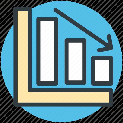 down arrow, economy down, finance, graph down, loss icon