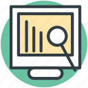 analysis, analytics, bar chart, search graph, search report icon