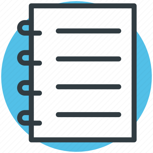 documents, jotter, notepad, notes, steno pad, writing pad icon