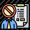 ban, blacklisting, boycott, data, person