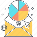 attachment, email report, envelope, newsletter, pie chart, presentation, statistics icon