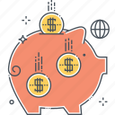 accounting, bank, budget, funds, investment, money, piggy icon