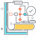 progress, flowchart, process, order, wire frame, data sheet, development icon