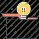 box, creativity, idea, lamp, new product, product, think outside the box icon