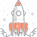 company, fly, idea, rocket, space ship, start up icon