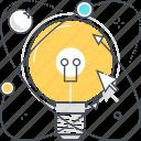 atom, creativity, idea, innovation research, lamp, light, recycle icon