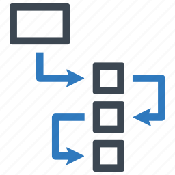 diagram, flowchart, hierarchy, workflow icon