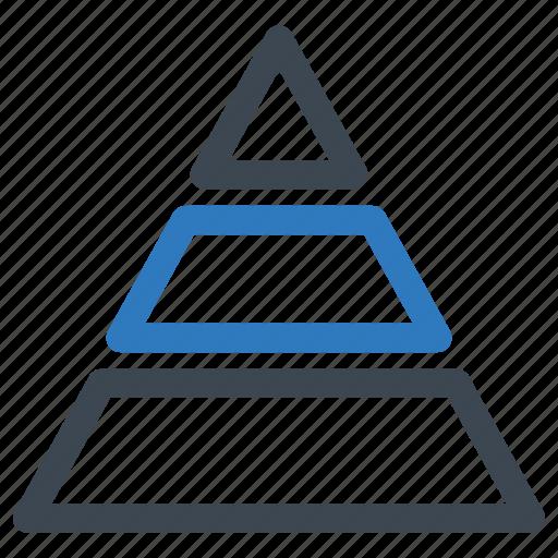 analytics, pyramid, triangle icon