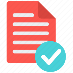 accept, approve, check, document, file, list, notepad icon