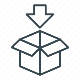 arrow down, box, business, cargo, container, delivery, logistics icon