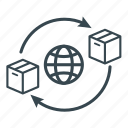 box network, business, globe, logistics, network, shipping, supply icon