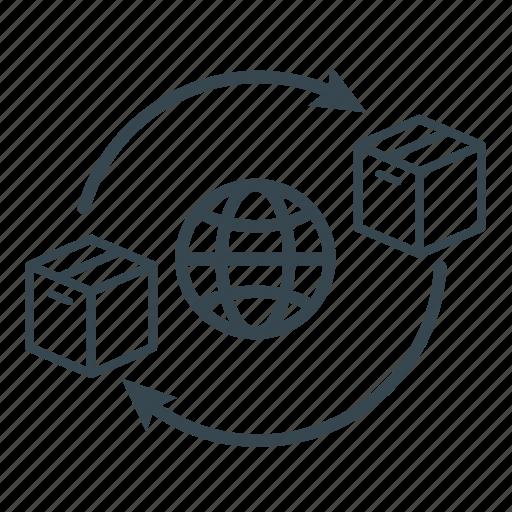 box network, business, globe, logistics, network, shipping, supply icon