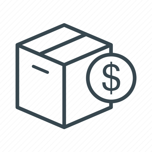 box, business, cardboard packaging, currency, dollar, exchange, money icon