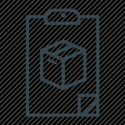 box, clipboard, file, fold icon