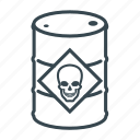 barrel, business, container, danger, drum, logistics, skull icon