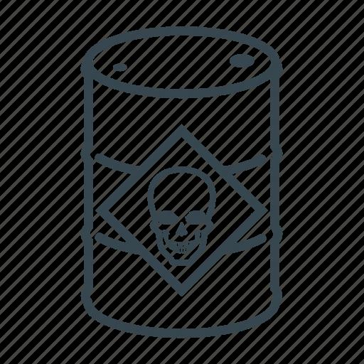 barrel, business, container, danger, drum, logistics, skull icon