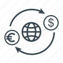 business, cargo, currency, exchange, globe, shipping icon